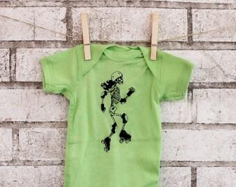 Roller Derby Baby Onepiece, Hand Printed Baby Bodysuit, Skeleton Skater Short Sleeved Bright Neon Lime Green, Roller Skating, Skull, Anatomy