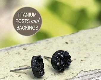 Faux Druzy Stud Titanium Post Earrings, 8mm Black Glitter Studs, Mini Black Faux Drusy