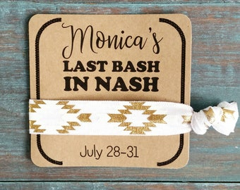 Last Bash In Nash, Hair Ties, Bachelorette favor, Bachelorette, Nashville Bachelorette Party, Wedding Shower Favor, Bridal Shower Favor