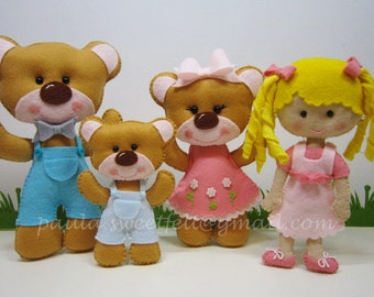 Goldilocks and the 3 Bears - decoration set - Telling stories / party decor / nursery decor / babyroom decor / fairy tale stories