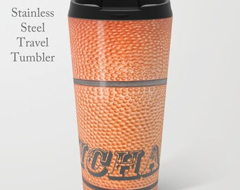 Basketball Tumbler-Travel Mug-Stainless Steel Travel Mug-Coffee Mug-15 oz Tumbler-Basketball Mug-Insulated Travel Mug-Personalized Mug