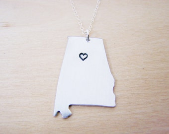 Hand Stamped Heart Alabama State Sterling Silver Necklace / Gift for Her