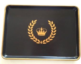 L gold crown laurel wreath balck serving tray
