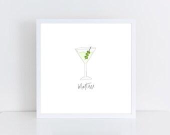 Martini Watercolor Printable | Bar Cart Art | Martini Printable | Dirty Martini Art
