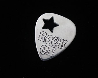 Rock ON - Hand stamped Guitar pick - great for a gift