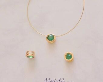 Pearl cubic zirconia - Emerald color - Gold 3 holes