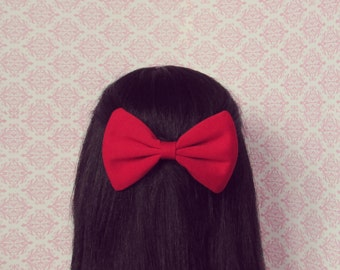 Red Hair Bow - French Barrette, Red Hair Accessory, Romantic Red Valentine Gift for Teen Girl or Woman