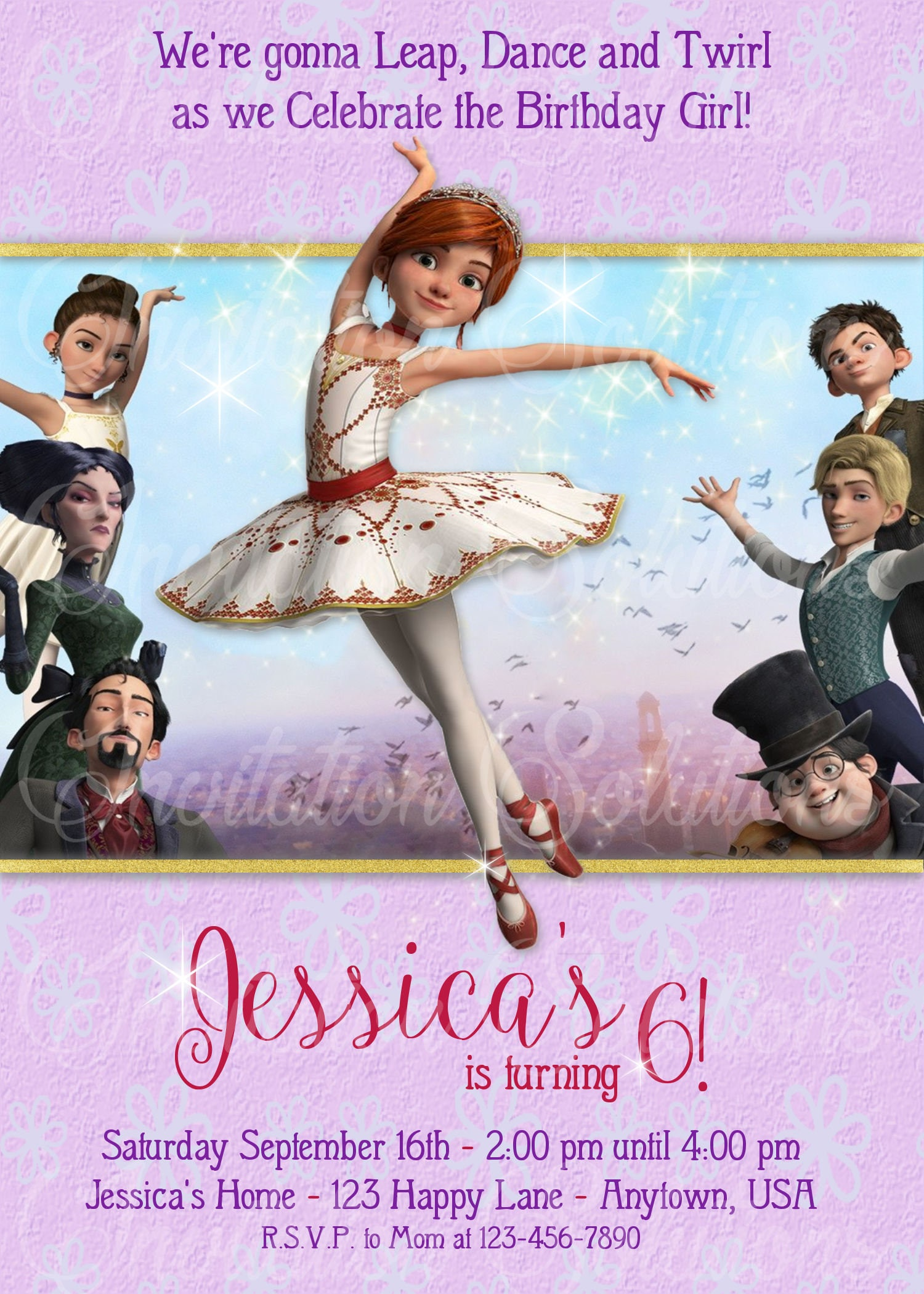Movie Leap Birthday Party Invitation/ Ballerina Leap Movie
