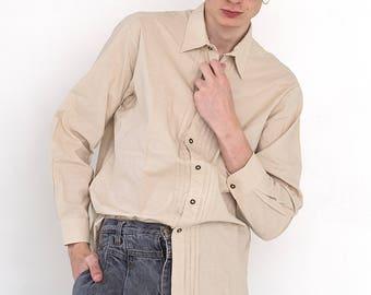 VINTAGE Cream Beige Long Sleeve Retro Button Down Shirt
