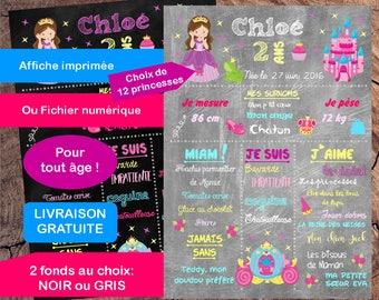 "Birthday poster girl ""Princess"" Blackboard slate Chalkboard"