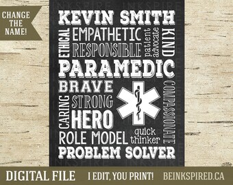 Paramedic Gift, Paramedic, Emt Gift, Ems Emt Paramedic First Responder Print Gift Thank You, Graduation Gift, Personalized, DIGITAL FILE