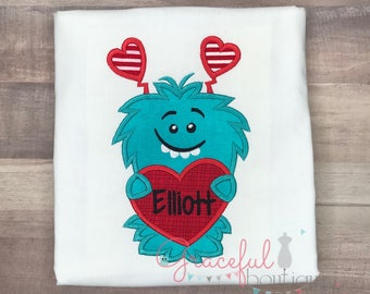Valentine Love Monster Valentine shirt for boy Monster with heart