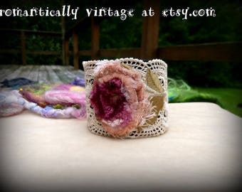 Bracelet, Cuff, Floral, Handmade, Jewelry,  Accessories, Shabby Chic, Gift