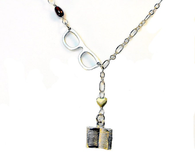 Book Glasses Lariat Necklace Book Lovers Bookish Literary Jewelry