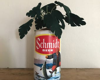 Green Leafy Fake Potted Plant in Vintage Schmidt Beer Can // Home Decor Housewarming Holiday Gift for Him // Apartment Accent