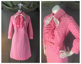 60s dress 1960s vintage PINK GINGHAM CHECK ruffle tuxedo mod dolly twiggy cotton dress