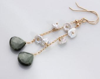 Green Cat's Eye Earrings, Keshi Keishi Cornflake Pearls, 14k Gold Filled, Wire Wrapped, June Birthstone, Long Dangly - Audrey