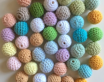Pastel Wooden Beads Crochet*20mm* 100%COTTON