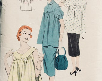 Vintage Scooped or Yoked Maternity Smock and Skirt Pattern Bust 30 Butterick 7166 Size 12