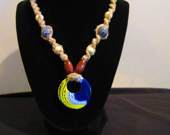 Hemp Necklace with Acrylic Wave Pendant, and Beads