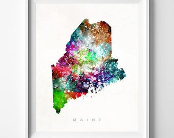 Maine Map Print, Augusta Print, Maine Poster, Augusta Map, Map Poster, Children Room, Watercolor Map, Art, Home Decor, Fathers Day Gift