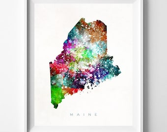 Maine Map Print, Augusta Print, Maine Poster, Augusta Map, Map Poster, Children Room, Watercolor Map, Art, Home Decor, Mothers Day Gift