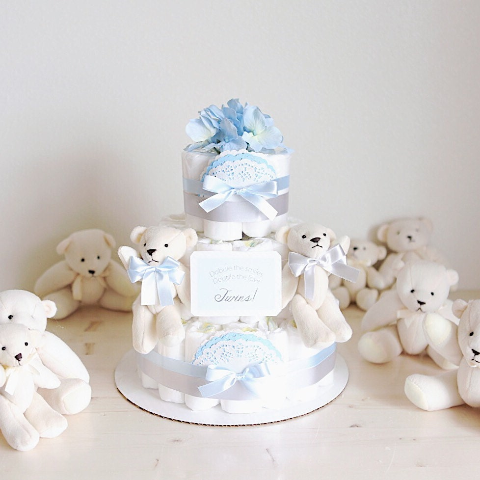 Twins! Polar Bear Diaper Cake with Soft Toy / Baby BOY Shower ...