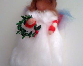 Angel in carded wool, white color with applied garland, inspiration Waldorf pedagogy