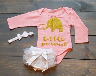 Infant Baby Girl Outfit 3 Piece Set, Peanut, TUTU, Romper, Diaper Cover #G-17