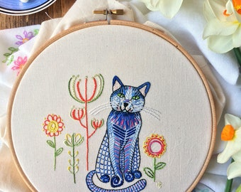 Embroidery pattern, pdf, embroidery designs, hand embroidery, sewing, cat, cat lover gift, kitty, embroidery hoop art, stitch, embroidery