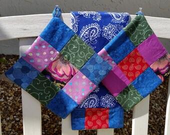 Boho Patchwork Towel and Potholders Set