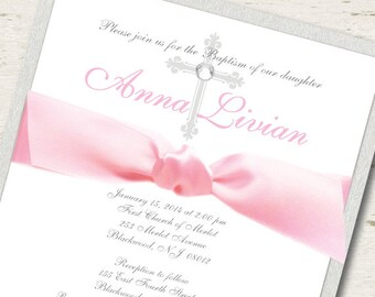 Girl First Communion Invitation Silver and Pink
