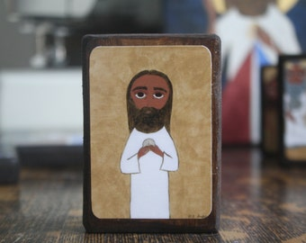2.5 ish X 3.5 ish inch the institution of the Eucharist byzantine/folk icon on wood