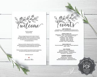 Wedding Welcome and Itinerary card, editable PDF template, Timeline card, Wedding weekend, welcome bag, welcome box, rustic theme (TED436_1)
