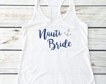 Nauti Bride Nautical Bridal Top, Great Bachelorette Top.