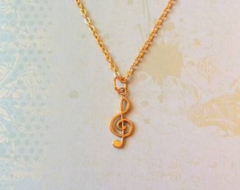 Treble Clef Necklace, gold necklace, music necklace, music gift, musician gift, singer necklace, music lover gift, music jewellery jewelry
