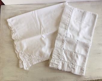 Vintage Small White Tablecloth and Table Runner