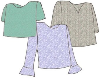 Plus Size Girls Modern T-Shirt PDF Sewing Pattern, Size 14-16