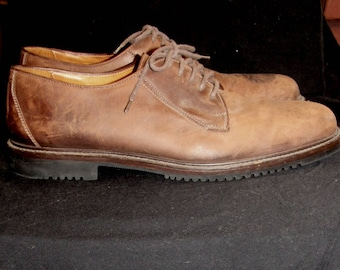 Sz 12M Mens Brown Leather Oxfords Shoes Vintage Cole Haan Country Brown  Distressed Leather