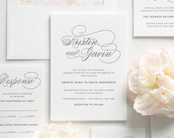 Script Elegance Letterpress Wedding Invitations - Deposit