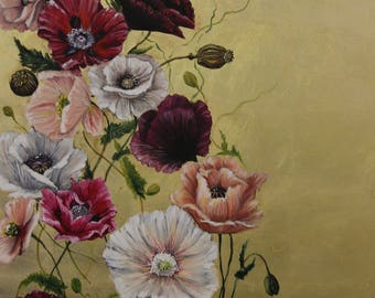 Flying poppies, 60x120, mixed technique