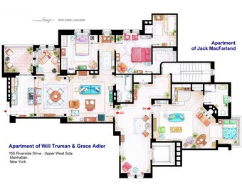 Floorplan of Will & Grace apartments and Jack's apartment