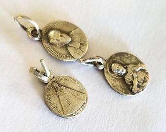 3 Vintage Tiny Silver Charms Saints Madonna Sacred Heart of Jesus Malonne Notre Dame