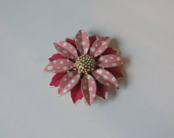 Pink and White  Enameled Flower Brooch/Pin