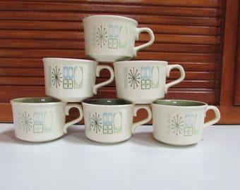 1960's Retro Starburst Coffee Cups Set of 6
