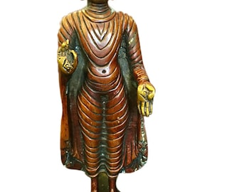 Indian Vintage Standing Buddha Shakyamuni Brass Statue Spiritual Meditation Interior Zen Design