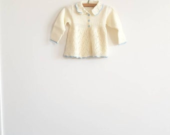 Vintage Cream and Blue Baby Sweater