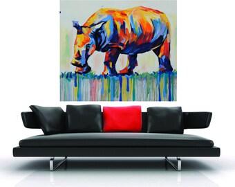 "39"" x 39""  Large Rhino  Africa rainbow  street graffiti painting modern white  wall Art  Huge Canvas Print  choose size"