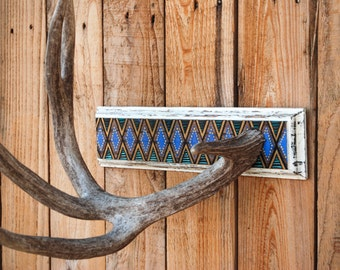 Painted Deer Antler Display Stand / Diamond Pattern / Shed Jewelry Towel Hanger / Southwest Art Decor