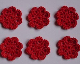 set of 6 small red flowers crocheted diameter 3 cm